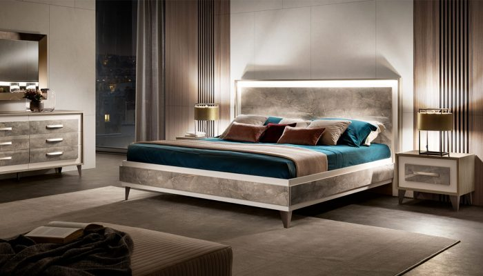 Adora interiors ambra bedroom wooden bed with 6drawers and bedside tables