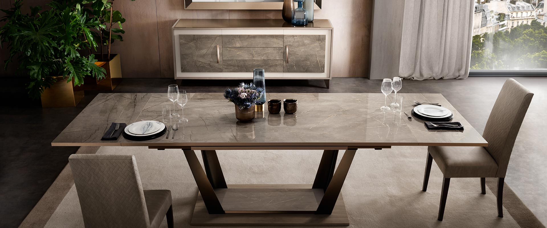 adora interiors ambra dining room big table with two chairs