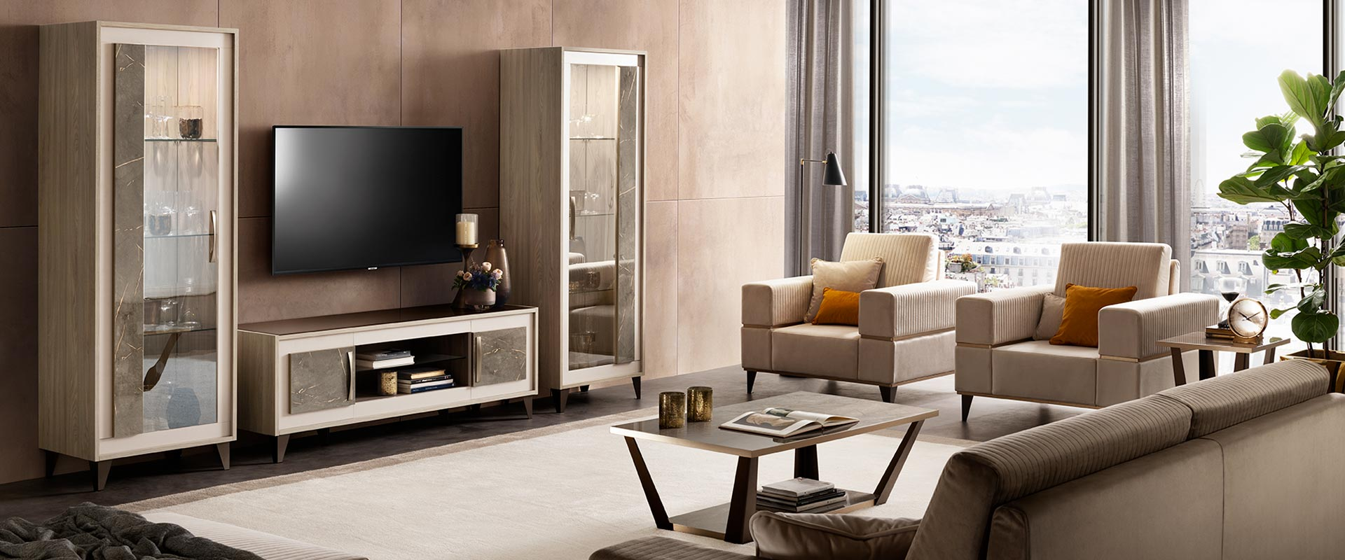 adora interiors ambra tv set composition with sofas and coffee tables