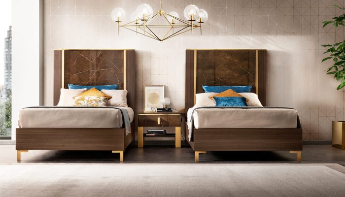 Adora interiors essenza bedroon twin beds with night table