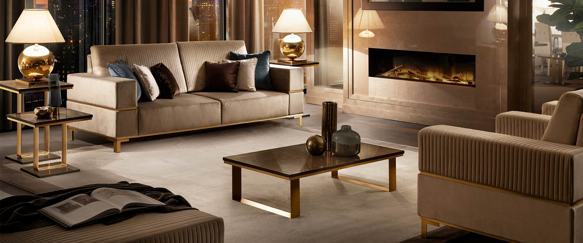 Adora interiors essenza living room set with lamp tables and coffee tables