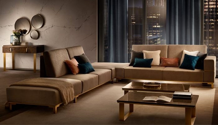 Adora interiors essenza living room sofas with two coffee tables
